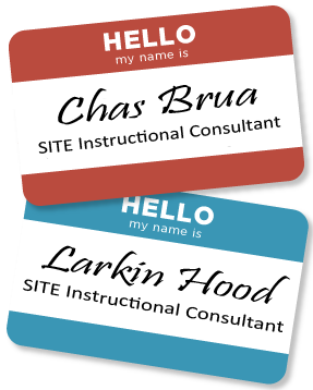 Image of nametags with SITE consultants' names on them, includes link to the custom workshops webpage.