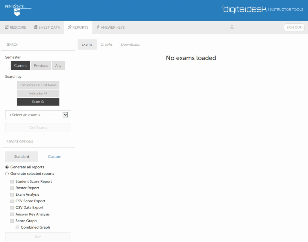 Screenshot of reports page