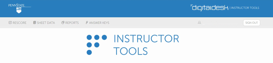Screenshot of the Instructor Tools home page
